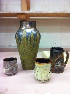 Bulldog Pottery, Seagrove, NC, Deep surfaces of crystals, layers, slip