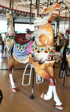 1915 Mangels/Carmel Carousel at Rye Playland, Rye, NY Rye Playland Carmel Carmel 2nd Row Stander National Carousel Association Logo © John Caruso Date of picture: 2005