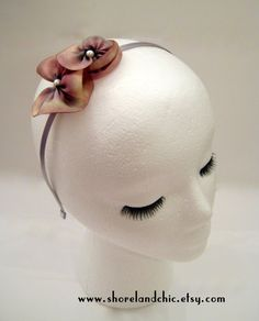 The June  pink silk flower headband handmade silk by ShorelandChic, $14.00