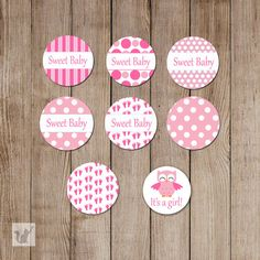 INSTANT DOWNLOAD Printable Small Candy Labels - 0.75 inch Candy Stickers Pink Baby Feet Owl Polka Dots Sweet Baby Its A Girl DIY Item