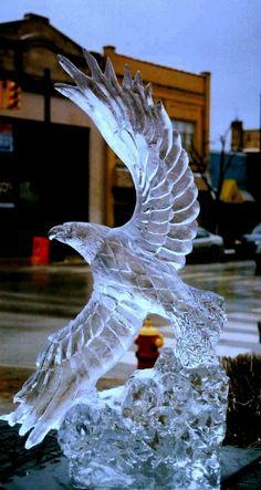 Eagle - Ice Sculpture, wonderful creativity. #iceart #snow #icesculptures #awesomecreativity #sculptureart #eagles