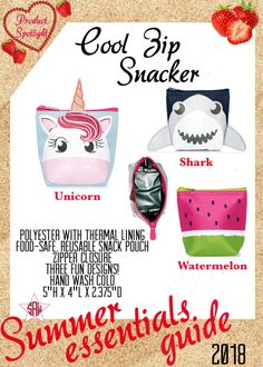 Graphic for VIP Facebook group or party. Cool zip snacker Summer essentials product spotlight. Thirty-One spring/summer 2018