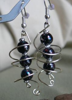 Sprial earrings with black and silver acrylic by MarquisCreations, $13.25