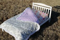 Gray Suzani with Lilac Swirl Minky Toddler by DesignsbyChristyS, $95.00
