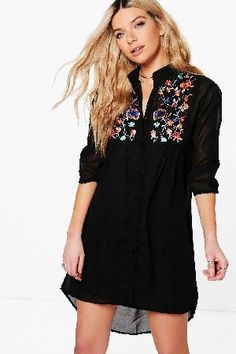 #boohoo Dory Floral Sateen Dip Hem Skater Dress - black #Get dance floor-ready in an entrance-making evening dressLook knock-out on nights out in figure-skimming bodycon fitsandcomma; flowing maxi lengths and stunning sequin-embellished occasion dresses. This season make for satin sheen slip dresses in mink nudesandcomma; and match lace trim cami dresses with barely-there heels for that cocktail-ready combo. If glitterball gowns arent your thingandcomma; take to the dance floor in a tux…