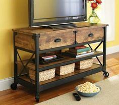 Rustic TV Stand Flat Screen 52 Inch Wood Organizer Entertainment Center Storage