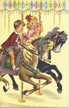 Vintage Card Boy Girl Carousel Birthday CardsHappy