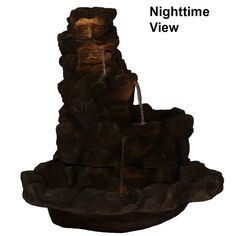 Sunnydaze Lighted Stone Springs Outdoor Water Fountain Rock Waterfall, Waterfall Fountain, Solar Powered Fountain Pump, Outdoor Waterfalls, Rock Fountain, Garden Water Fountains, Waterfall Features, Led Rope Lights, Beautiful Rocks