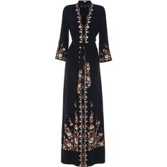 Vilshenko     Beatrice Dress (57 535 UAH) ❤ liked on Polyvore featuring dresses, gowns, black, floral print a line dress, wrap dresses, embroidered dresses, v neck a line dress and floral print dress
