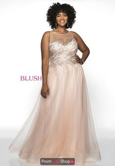 Style from Blush Too is a sleeveless illusion Hand Beaded Tulle plus size prom gown. Plus Size Gowns, Plus Size Prom Dresses, Formal Dresses, Top Dress Designers, Designer Prom Dresses, Prom Dress Stores, Prom Dress Shopping, Full Figure Dress, Blush Prom
