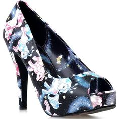 7b1b7a00f2ac Black Celestial My Little Pony Peep Toe Pumps Black High Heel Pumps