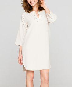 Love this Beige Notch Neck Dress on #zulily! #zulilyfinds