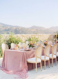 La Tavola Fine Linen Rental: Velvet Blush with Velvet Blush Napkins | Photography: Kelsea Holder Photography, Venue: Sunstone Villa, Planning & Design: Davia Lee, Florals: Camellia Floral Design, Paper Goods: Fete & Quill, Rentals: Silk & Willow, The Tent Merchant and Theoni Collection, Lighting: DJ Hecktik