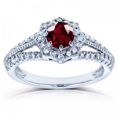 Vintage Garnet & Diamond Engagement Ring 7/8 Carat (ctw) in 14k White Gold
