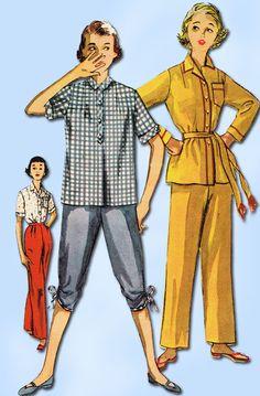 1950s Vintage Misses Pajamas Uncut 1953 Simplicity VTG Sewing Pattern Size 12