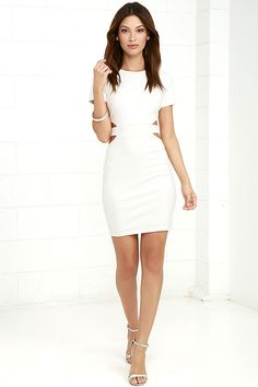 Is it hot in here, or is it just the Feeling the Heat White Cutout Bodycon Dress?! Medium-weight stretch knit shapes this figure-flaunting dress with a rounded neckline, short sleeves, banded waist with sexy side cutouts, and fitted skirt. Hidden back zipper with clasp.