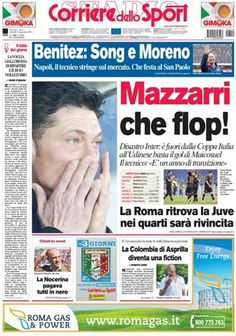 La #primapagina di oggi #Calciomercato #Benitez: Song e Moreno #CoppaItalia #Inter fuori, la #Roma ritrova la #Juve nei quarti