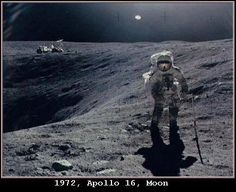 1972 - Apollo 16 Moon Mission Dates: April 16-27 CDR: John W. Young CMP: Kenneth Mattingly LMP: Charles Duke Importance: Explored the Moon's rocky central highlands. NASA archives (photo No AS16-109-17804) Mission Apollo 16 on the Moon.  Astronaut Charles Duke photographed collecting lunar sample at Station 1. The UFO is seen at just right of top center.