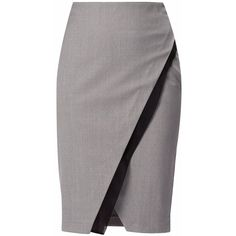 WtR London - Marylebone Double Layer Pencil Skirt  Grey ($440) ❤ liked on Polyvore featuring skirts, textured skirt, pencil skirt, gray wool skirt, double layer skirt and wool skirts