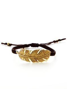 Tai Jewelry Textured Leaf Charm Bracelet