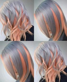 Best Ombre Hair Color Ideas For Stylish Girls - Couleur Cheveux 02 Hair Color Pink, Blonde Color, Cool Hair Color, Purple Hair, Hair Colors, Pink Purple, Blonde Pink, Platinum Blonde, Pink Grey