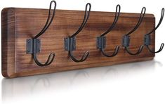 """Amazon.com: Rustic Coat Rack - Wall Mounted Wooden 24"""" Entryway Coat Hooks - 5 Rustic Hooks, Solid Pine Wood. Perfect Touch for Your Entryway, Kitchen, Bathroom. (Rustic Brown): Office Products Entryway Coat Hooks, Rustic Entryway, Rustic Walls, Wall Hook Rack, Wall Mounted Coat Rack, Wall Hooks, Diy Hooks, Rustic Coat Rack, Wood Bathroom"""