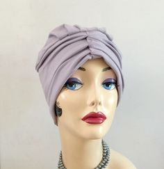a3e6c5eef1b Jersey Flapper Style Turban - Cotton Chemo Hats for Hair Loss - Soft  Handmade Head Coverings in several Colors - Made by Milliner in the USA