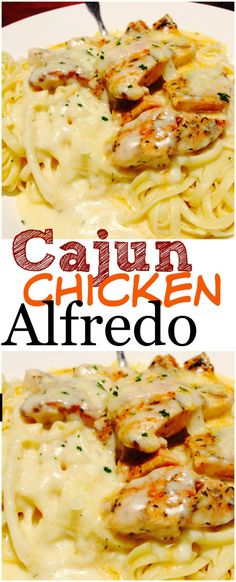 This Cajun Chicken Alfredo is hand's down the world's best pasta recipe! One of those restaurant copycat meals that is WAY better than the original. The flavor will keep you coming back for more aga (Italian Chicken Alfredo) Pollo Cajun, Receitas Crockpot, Cooking Recipes, Healthy Recipes, Cooking Videos, Cooking Pork, Vegetarian Recipes No Pasta, Lunch Recipes, Food Dinners
