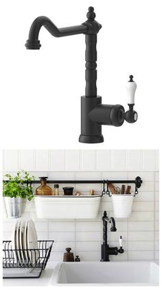 Add style to your kitchen with the IKEA GITTERAN sink faucet. Save water and energy, because the faucet has a mechanism that reduces water flow while maintaining pressure. Even comes with a 10 year Limited Warranty. Ikea Kitchen Sink, Kitchen Sink Faucets, Kitchen Redo, Kitchen And Bath, New Kitchen, Kitchen Remodel, Sinks, Kitchen Rails, Decorating Kitchen