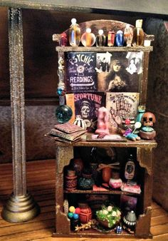 Dollhouse Miniature OOAK 7-1/2 Inch Tall Gypsy Witch Fortune Hutch by LeanneM