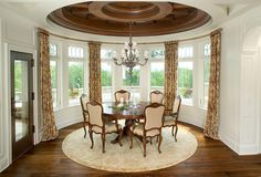 Circular Dining Room with Wooden Molding Dining Room Ceiling Lights, Dining Room Light Fixtures, Dining Room Lighting, Retro Dining Rooms, Interior Design Principles, Traditional Dining Rooms, Ceiling Light Design, Country Style House Plans, Room Planning