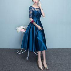 Blue Short Sleeves Tea Length Formal Dress, Blue Bridesmaid Dresses, W – BeMyBridesmaid Cheap Dresses, Elegant Dresses, Sexy Dresses, Prom Dresses, Bride Dresses, Tea Length Formal Dresses, Wholesale Boutique Clothing, Women's Evening Dresses, Blue Bridesmaid Dresses