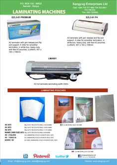 We are pleased to announce the arrival of a fantastic range of Laminating machines and pouches. The pouches include ID card size, A5,A4 and A3 sizes, so you can laminate and preserve all your important documents for posterity  http://www.sangyug.com/search.php?search_query=LAMINATING+MACHINE&x=0&y=0