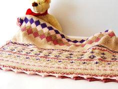 luxury baby knit blanket Fair Isle knit throw hand by cosediisa