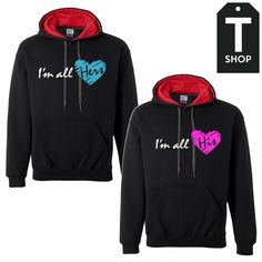 I'm all hers his Couple Hoodies