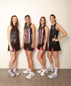 NZ fast 5 show off their new pink uniform! Netball Dresses, Volleyball, Basketball, Womans Weekly, Silver Fern, Sully, Pink Dresses, Sport Wear, Ferns