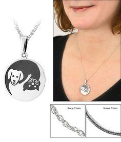 Sterling Yin Yang Cat & Dog Necklace