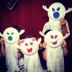 paper plate and crepe streamers ghosts for Halloween.. super easy and fun!!! :)