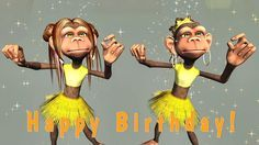 Funny birthday greetings video animation, were cartoon Monkeys singing Happy Birthday song and funny dance in the hip-hop style. You can send the short birth...