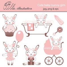 This cute baby bunny girls clipart set comes with 7 beautiful graphics.