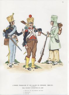 44th Line Infantry on service in Spain 1808-14 L to R Voltigeur Officer 1811-12, Grenadier and Fusilier