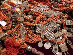 African trade coral with Berber silver  Jewellery by Faouzi of Marrakesh, reworking antique elements. Lush http://Faouzidesigns.com/