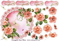 A luxurious round topper with beautiful pale peach Camellia surrounded by lace and pearls, on a pretty scalloped frame.  Includes topper, decoupage layers & 4 sentiment tags. The greetings are Happy Birthday, Happy Anniversary, Best Wishes & one left blank for your own greeting or name.     Also available as a Scalloped Round Easel mini kit. Just search cup775183_38