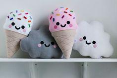 White Cloud Cushion Happy Face Pillow Kawaii by hannahdoodle