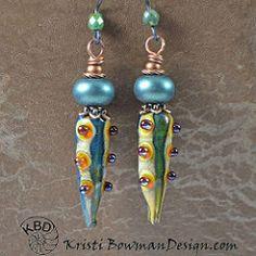 Cool Lampwork Pod Headpins and Green Metallic Lampwork bead earrings! #earrings #kristibowmandesign