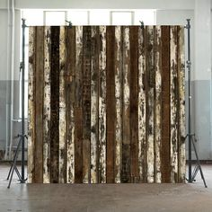 White Brown Beams Scrapwood Wallpaper by Piet Hein Eek - Now available in our E-Shop at www.rossanaorlandi.com #rossanaorlandi #design #gallery #milano #italy #store #spazio #home #decor #unique #collection #milan #interior #eshop #ecommerce #onlinestore #buyonline