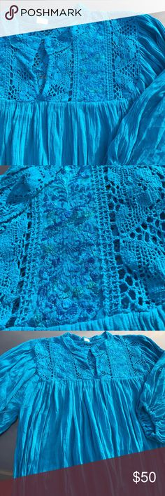 "❤️New Handmade Embroidered Boho Ethnic Blouse XXL Absolutely gorgeous! This Boho style top was made in Mexico and is a real beauty! Armpit to armpit 25"" Neck to bottom hem line 31.5"" Sleeves lenght 17.5"" with elastic band, v-neck. Embroidered 100% by hand, blue floral design, crochet accents, gauze fabric, fresh and lightweight. Size 18 based on measurements. Cielito Lindo is located in Mcallen TX visit us to see our wide variety of Mexican items! Or visit…"