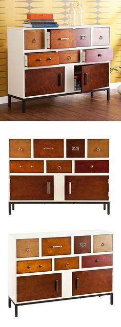 Modern style elegance mixes with simple flair to highlight this unique dresser console's style.