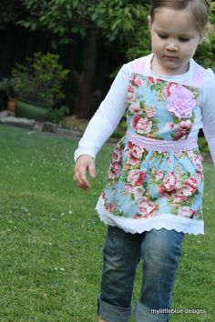 Girls Apron Style Dress - Blue/Pink Floral. $35.00, via Etsy.