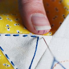 Thumb Marking to get even stitches - from Wild Olive #stitchery #tricks